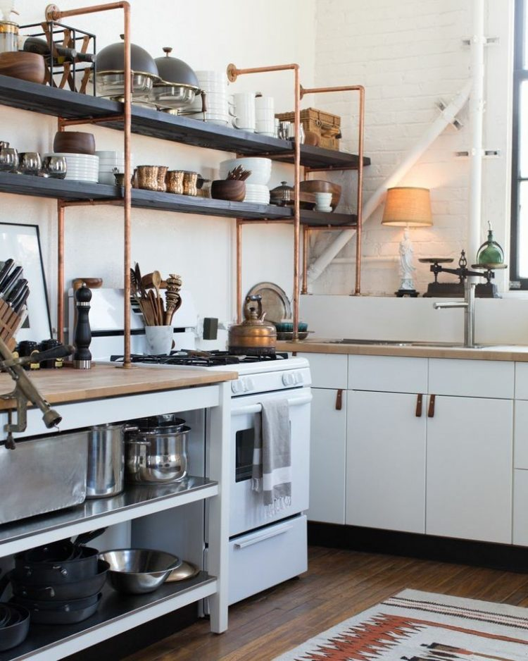 kitchen open shelves mobile 65 ideas of using wall shelterness copper and wood are great additions to standard ikea cabinets
