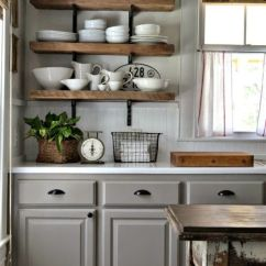 Shelves For Kitchen Cabinets Industrial Looking Ideas 65 Of Using Open Wall Shelterness Gray Rustic Looks Great Together