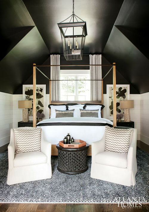 Having a headboard like this, not the same color necessarily that takes up most of the wall with a black stone on the wall behind it. 70 Cool Attic Bedroom Design Ideas - Shelterness