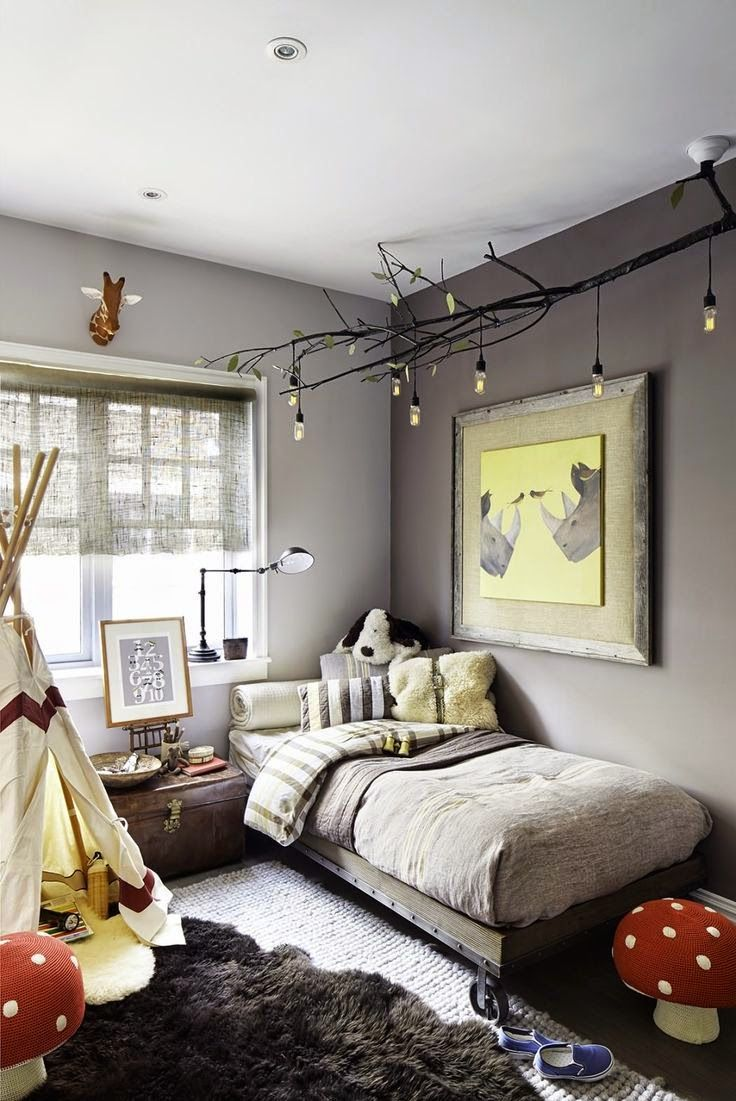 Picture Of diy celing light fixture of branches is a nice addition to an eclectic kids room