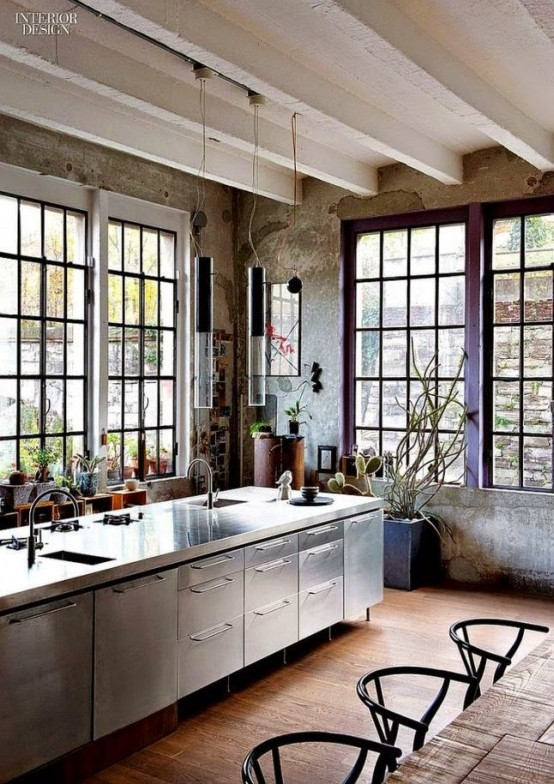 This loft kitchen looks gorgeous, like all other rooms (via digsdigs)