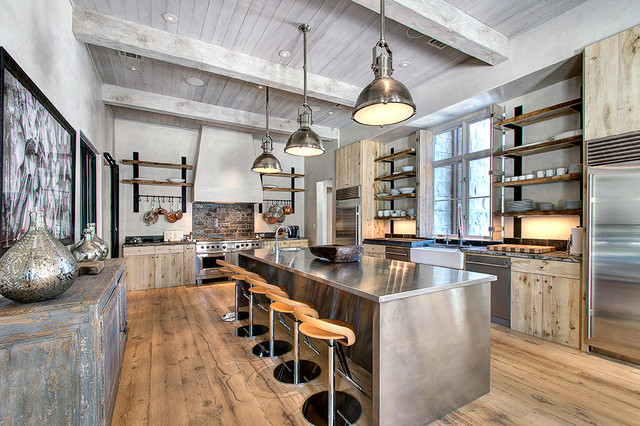 really spacious kitchen with lots of industrial elements