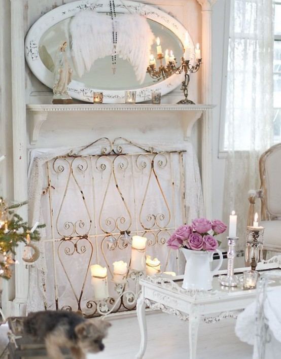 shabby chic small living room ideas decorations for 85 cool decorating shelterness faux fireplace and aged furniture make this looks great