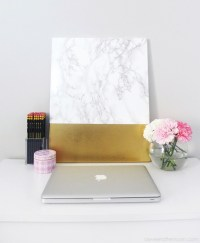DIY Faux Marble And Gold Canvas Wall Art - Shelterness
