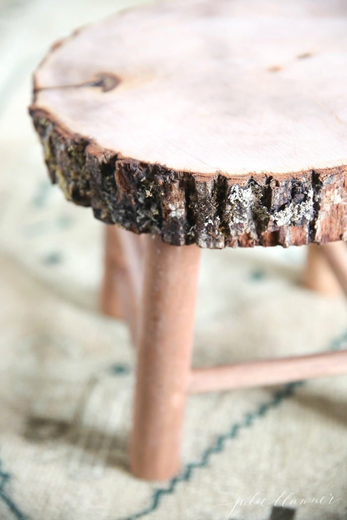 DIY Rustic Wood Slice Bathroom Stool