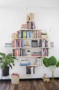 Creative DIY Diamond Shaped Bookshelves - Shelterness