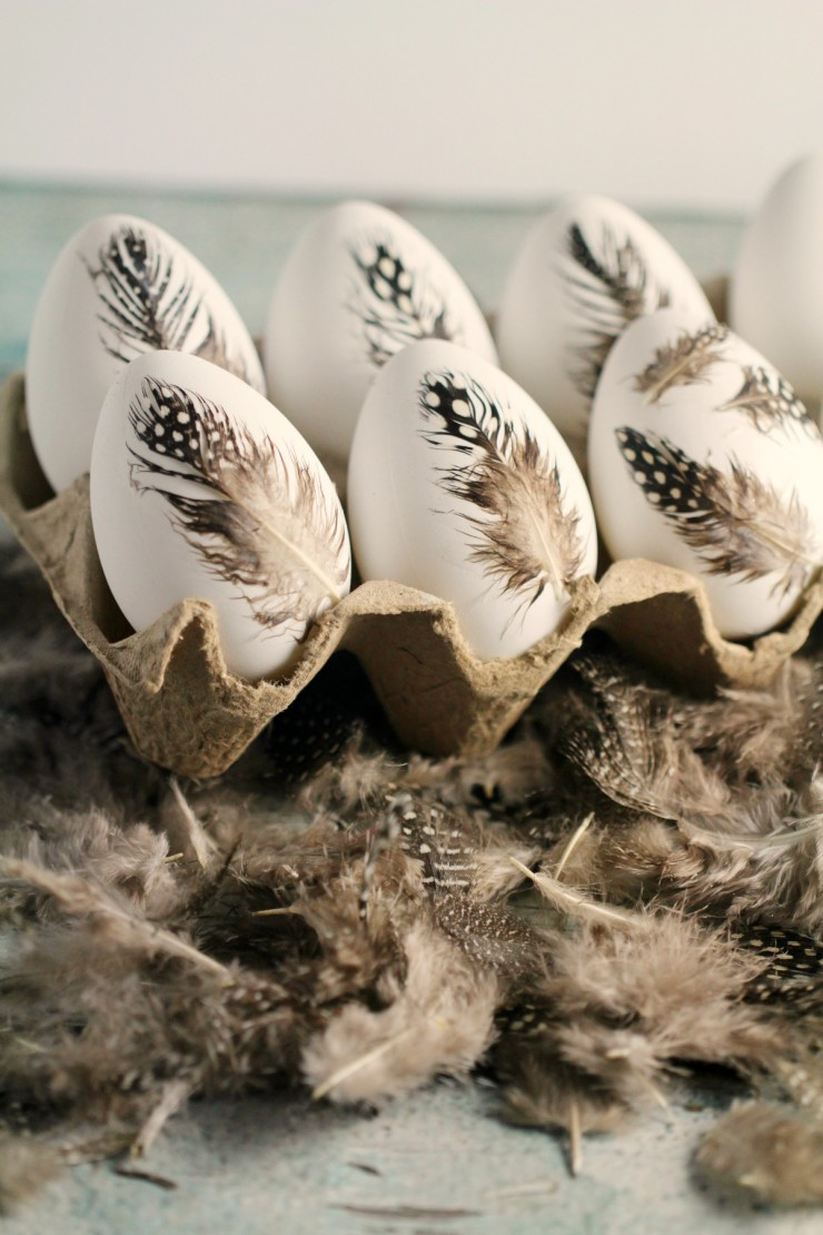 ScandinavianStyle Easter DIY Feather Easter Eggs  Shelterness
