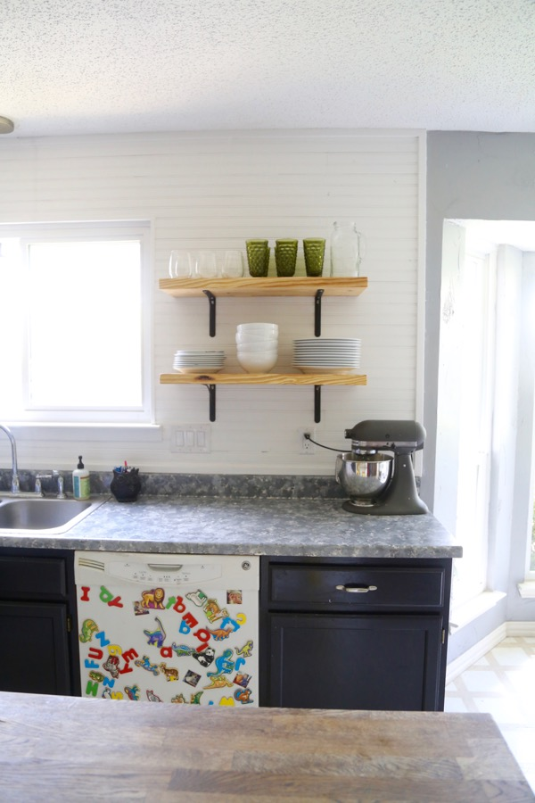 kitchen wall shelving units yellow chairs airy-looking diy open - shelterness