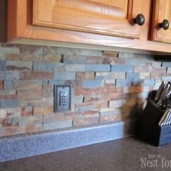 Stone Kitchen Backsplash Little Bakers 4 Diy And Pebble Backsplashes To Make Shelterness Via Howtonestforless
