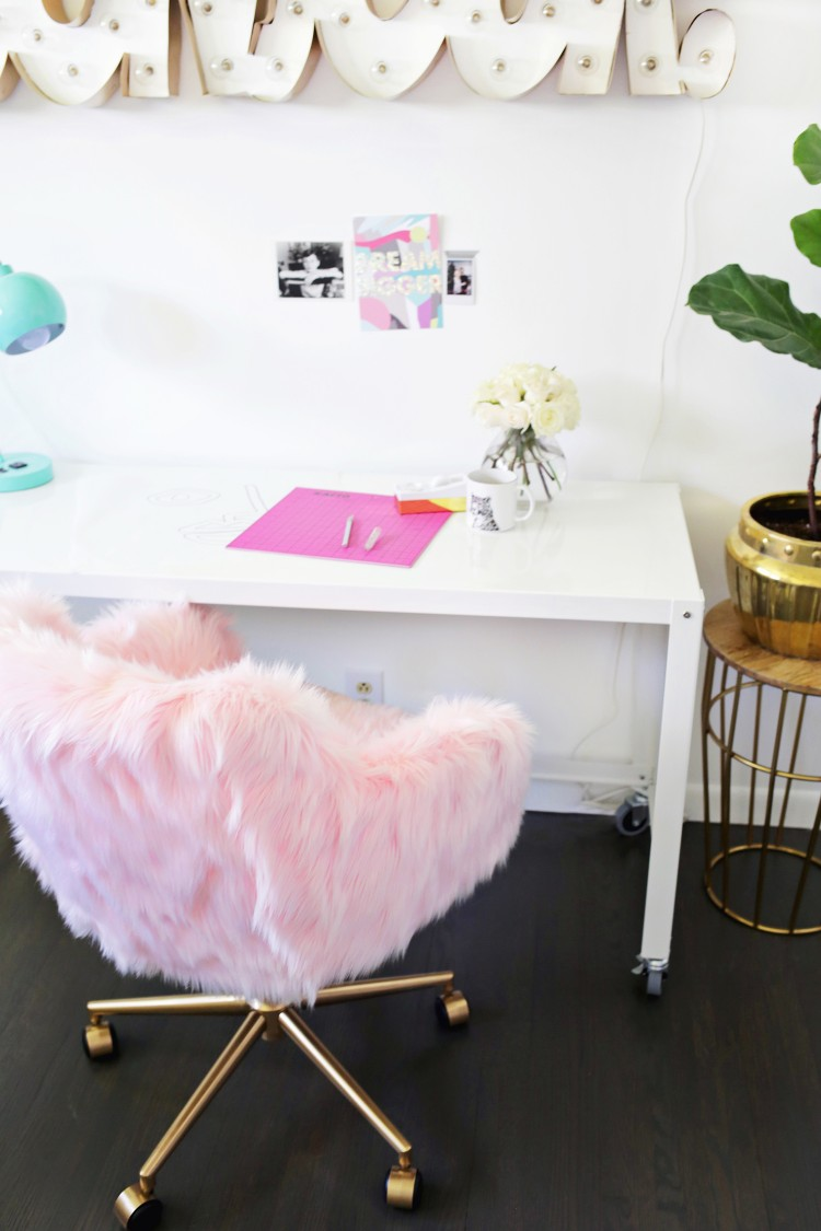 Glam DIY Office Chair Makeover With Faux Fur  Shelterness