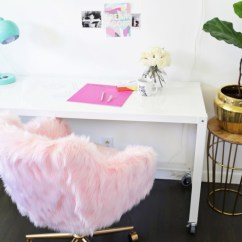 Ikea Hanging Chairs Indoor With Stand Glam Diy Office Chair Makeover Faux Fur - Shelterness
