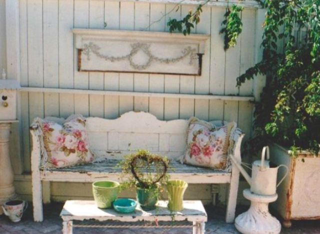 grey patio chair covers black wood dining 27 shabby chic terrace and décor ideas - shelterness