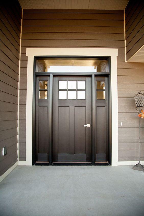 Black And Lights Transom Side Front Door