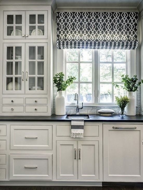 kitchen curtains ideas how much does a remodel cost 3 window treatment types and 23 shelterness patterned roman shades are one of the most popular for kitchens