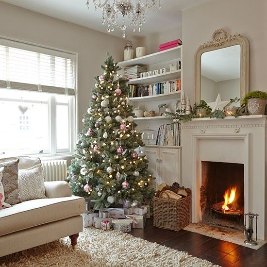 decorate small living room for christmas paint colors 40 cozy decor ideas shelterness neutral fir tree with silver and red ornaments