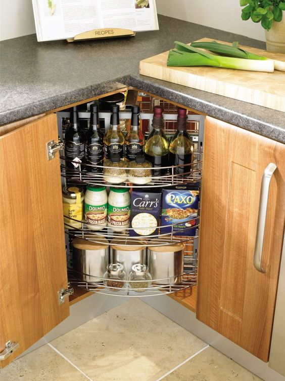 kitchen corner cabinets sinks with drainboards 20 practical storage ideas shelterness spices and home bar hidden in a cabinet