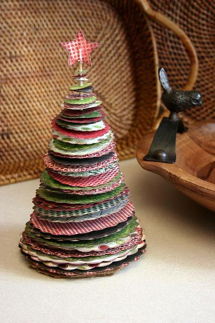 tabletop Christmas tree made of cards