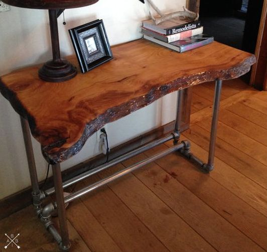 industrial kitchen island lemon rug 24 chic live edge wood furniture objects to try - shelterness