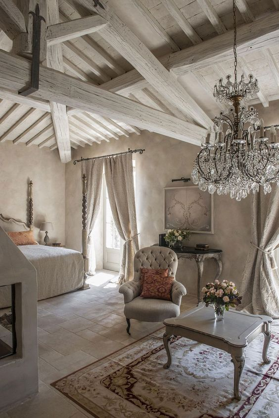 Another great way to add a bit of texture to your white bedroom is with a shiplap accent wall or ceiling. 15 Refined French Country Bedroom Décor Ideas - Shelterness
