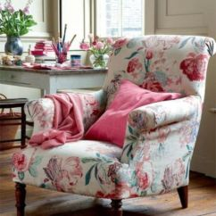 Floral Arm Chair Banquet Covers India 20 Timeless And Chic Print Upholstery Ideas Shelterness Delicate Armchair With Pink Flowers Green Leaves On A Creamy Backdrop