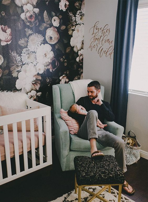 a moody floral wall is great and unusual idea for a girl's nursery