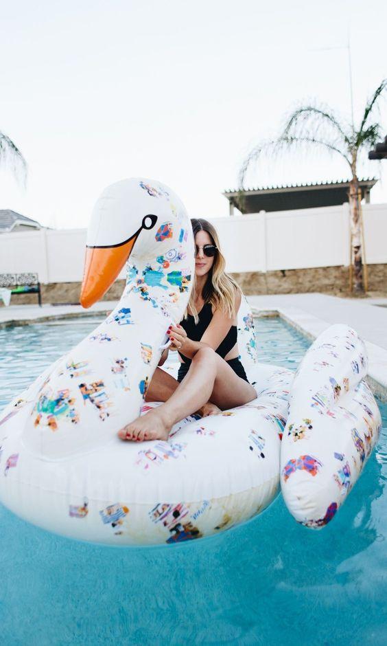 printed swan pool float for girls' parties
