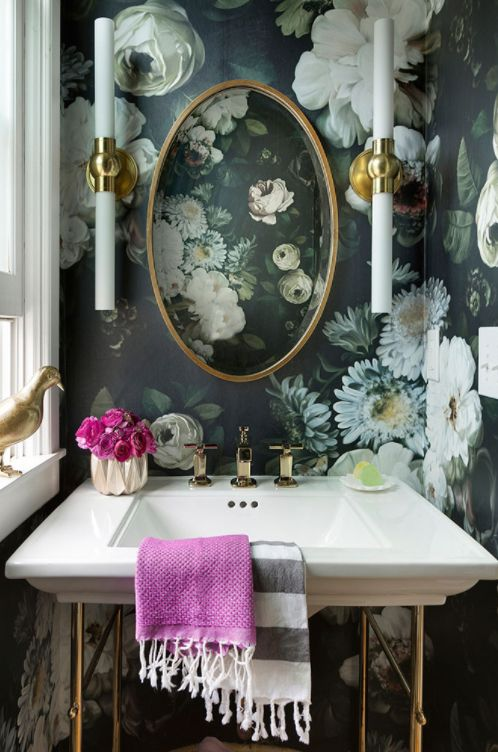 refined moody wallpaper for a vintage bathroom to give it a chic look