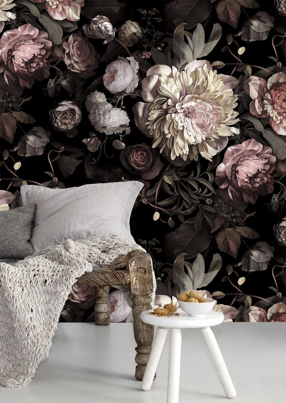 chic dark floral wallpaper with blush flowers makes the living room refined