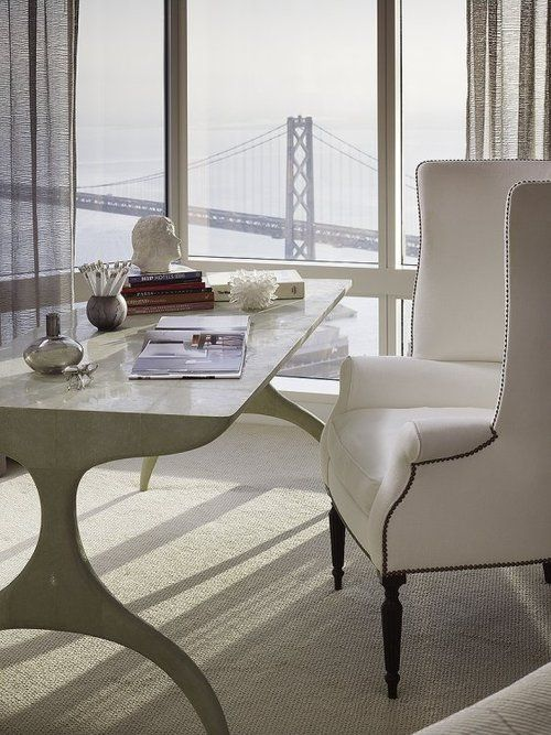 big city views are great for an elegant vintage-inspired white feminine office