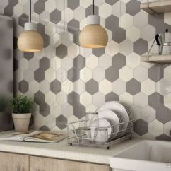Modern Kitchen Backsplash Circle Table 15 Edgy Geometric Backsplashes To Get Inspired Shelterness Hexagon Tiles In Shades Of Grey And Cream For A