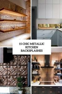 15 Chic Metallic Kitchen Backsplash Ideas - Shelterness