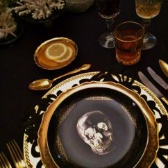 Black Skull Chair Dark Wood Folding Chairs 15 Refined And Gold Halloween Decor Ideas - Shelterness