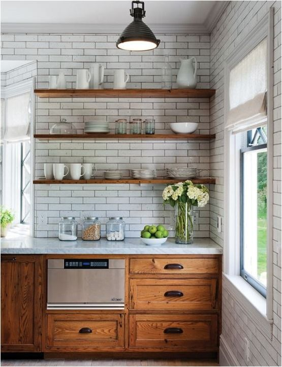 kitchen wood cabinets cabinet kings 15 cool ideas for rustic kitchens shelterness a modern farmhouse with rich colored wooden and shelves subway tiles