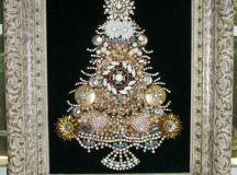 a beautiful old jewelry Christmas tree art in a vintage frame