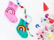 DIY colorful stockings with felt rainbows (via abubblylife.com)