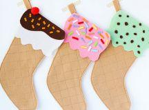 DIY ice cream cone stockings (via mypoppet.com.au)