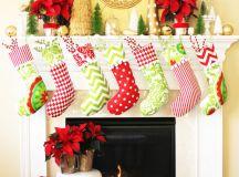 DIY traditional green, red and white stockings (via www.positivelysplendid.com)