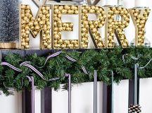 DIY MERRY sign with disco ball ornaments (via www.homeyohmy.com)