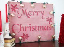 DIY vintage Christmas sign with vintage lights (via createandbabble.com)