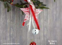 DIY jingle bells star with ribbons (via thecraftsworld.com)