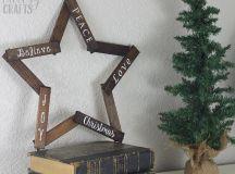 DIY wooden star Christmas wreath (via cutesycrafts.com)