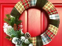 DIY flannel wrapped wreath with evergreens (via www.sadieseasongoods.com)