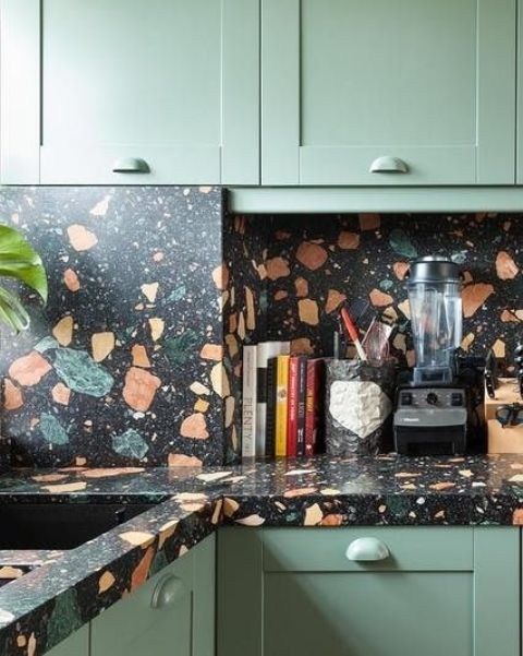 grey kitchen cabinets faucets moen 15 trendy terrazzo decor ideas for kitchens - shelterness