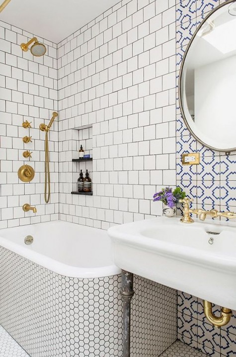 to mix and match bathroom tiles