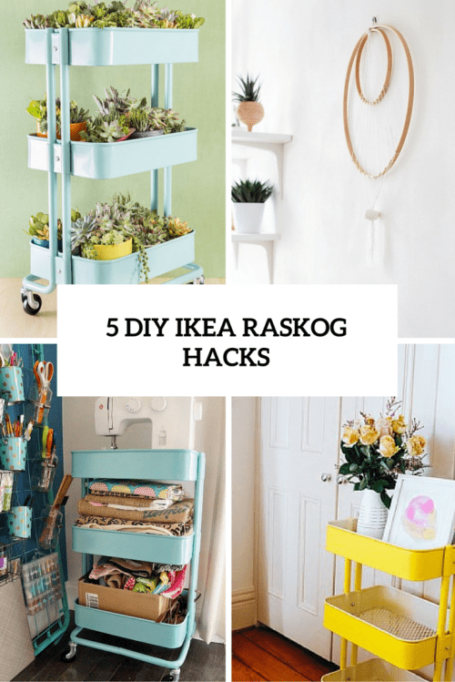 rolling kitchen carts rustic furniture 5 cool and easy diy ikea raskog cart hacks - shelterness