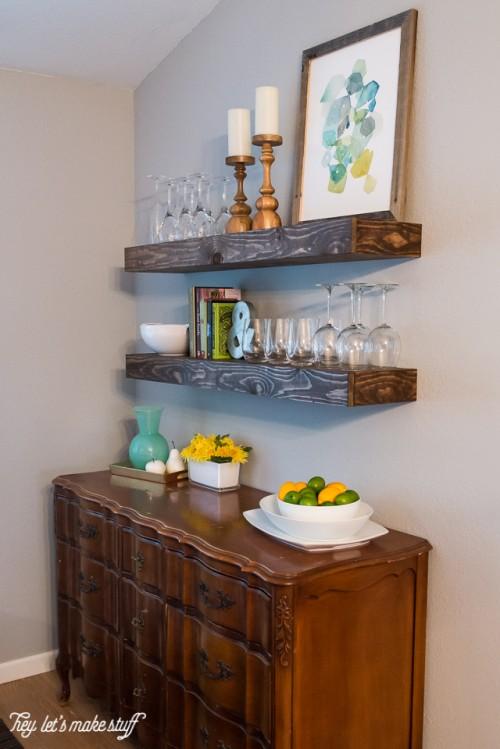 Cool DIY Dining Room Floating Shelves  Shelterness