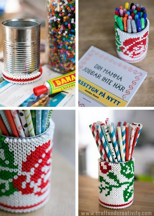 DIY Beaded Tin Can Pencil Holder  Shelterness