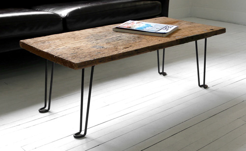 diy coffee table of a wood plank and