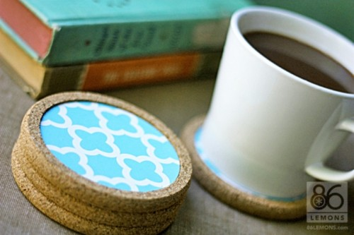 Diy Cork Coasters Decorated With Contact Paper Shelterness