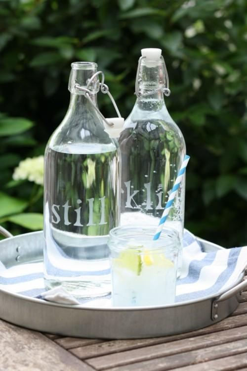 DIY Etched Glass Water Bottles  Shelterness